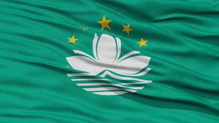 macau: Closeup Macau Flag, Waving in the Wind, High Resolution