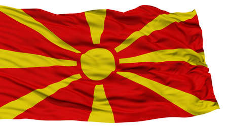 Isolated Macedonia Flag, Waving on White Background, High Resolution