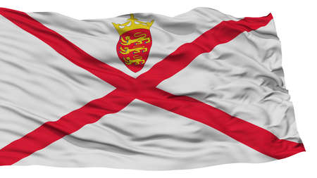 Isolated Jersey Flag, Waving on White Background, High Resolution
