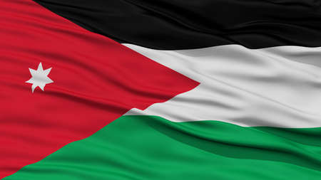 Closeup Jordan Flag, Waving in the Wind, High Resolution Stock Photo