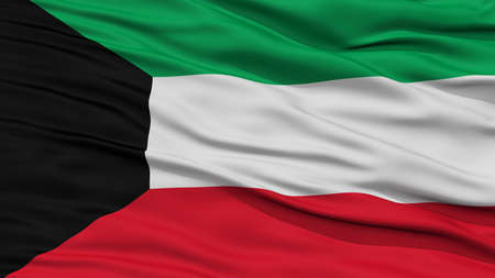 Closeup Kuwait Flag, Waving in the Wind, High Resolution Stock Photo