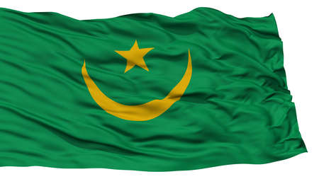 Isolated Mauritania Flag, Waving on White Background, High Resolution