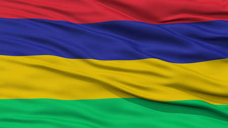Closeup Mauritius Flag, Waving in the Wind, High Resolution