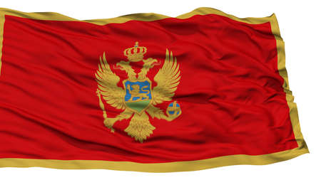 Isolated Montenegro Flag, Waving on White Background, High Resolution