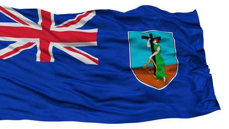 Isolated Montserrat Flag, Waving on White Background, High Resolution Stock Photo