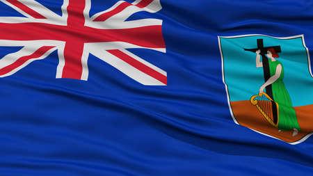 Closeup Montserrat Flag, Waving in the Wind, High Resolution Stock Photo