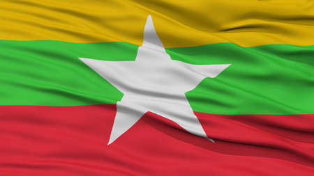 resolution: Closeup Myanmar Flag, Waving in the Wind, High Resolution Stock Photo