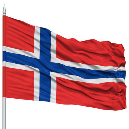 norway flag: Norway Flag on Flagpole , Flying in the Wind, Isolated on White Background
