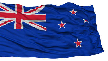 Isolated New Zealand Flag, Waving on White Background, High Resolution