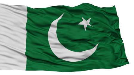 Isolated Pakistan Flag, Waving on White Background, High Resolution Stock Photo