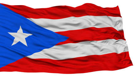 Isolated Puerto Rico Flag, Waving on White Background, High Resolution