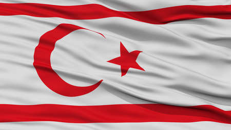 Closeup Northern Cyprus Flag, Waving in the Wind, High Resolution Stock Photo