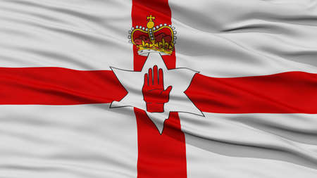 northern ireland: Closeup Northern Ireland Flag, Waving in the Wind, High Resolution