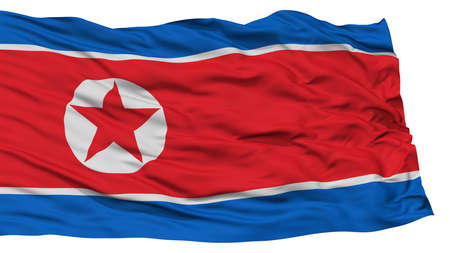 Isolated North Korea Flag, Waving on White Background, High Resolution Stock Photo