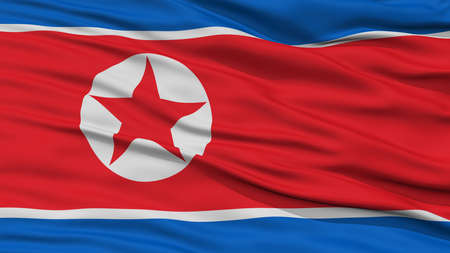 Closeup North Korea Flag, Waving in the Wind, High Resolution