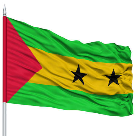 Sao Tome and Principe Flag on Flagpole , Flying in the Wind, Isolated on White Background