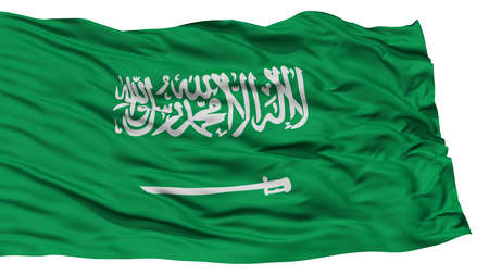 Isolated Saudi Arabia Flag, Waving on White Background, High Resolution