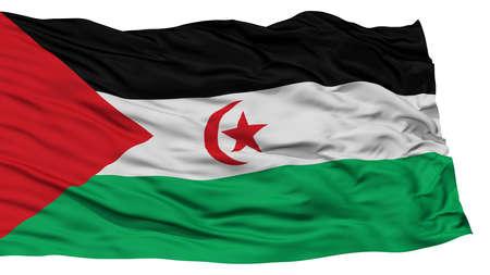 sahrawi arab democratic republic: Isolated Sahrawi Arab Democratic Republic Flag, Waving on White Background, High Resolution Stock Photo
