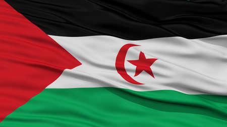sahrawi arab democratic republic: Closeup Sahrawi Arab Democratic Republic Flag, Waving in the Wind, High Resolution Stock Photo