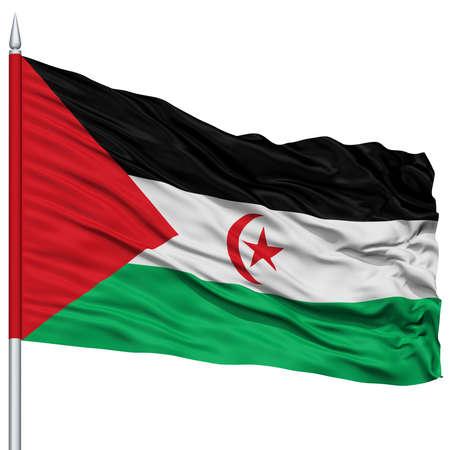 sahrawi arab democratic republic: Sahrawi Arab Democratic Republic Flag on Flagpole , Flying in the Wind, Isolated on White Background