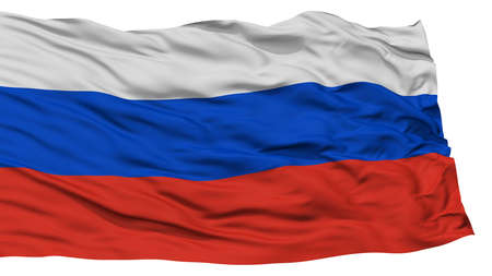 Isolated Russia Flag, Waving on White Background, High Resolution