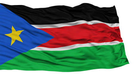 Isolated South Sudan Flag, Waving on White Background, High Resolution