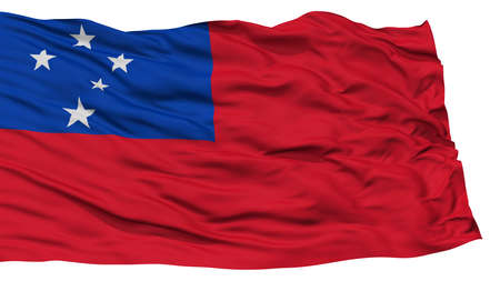 Isolated Samoa Flag, Waving on White Background, High Resolution