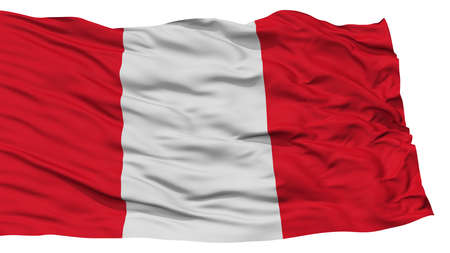 Isolated Peru Flag, Waving on White Background, High Resolution