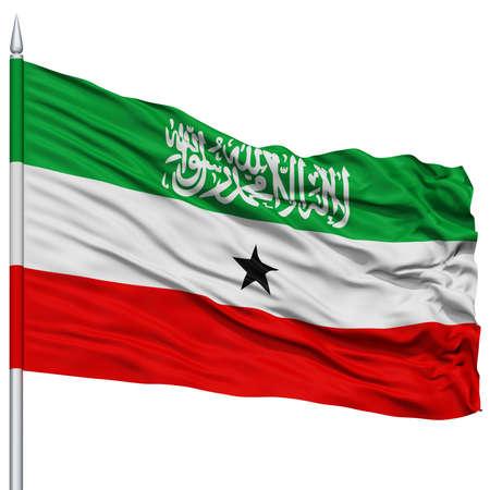 somaliland: Somaliland Flag on Flagpole , Flying in the Wind, Isolated on White Background
