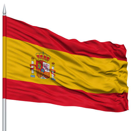 Spain Flag on Flagpole , Flying in the Wind, Isolated on White Background Stock Photo