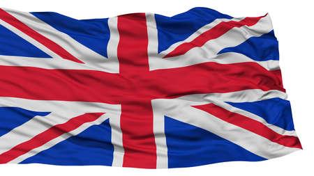 flag: Isolated United Kingdom Flag, Waving on White Background, High Resolution