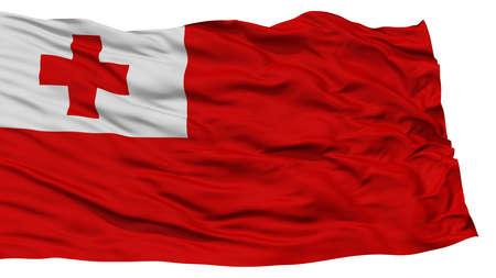 Isolated Tonga Flag, Waving on White Background, High Resolution