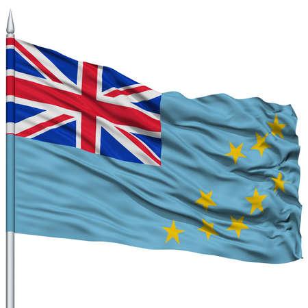 Tuvalu Flag on Flagpole , Flying in the Wind, Isolated on White Background