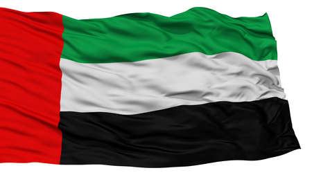 Isolated United Arab Emirates Flag, Waving on White Background, High Resolution