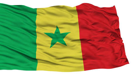 Isolated Senegal Flag, Waving on White Background, High Resolution