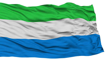 Isolated Sierra Leone Flag, Waving on White Background, High Resolution