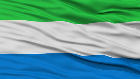 Closeup Sierra Leone Flag, Waving in the Wind, High Resolution