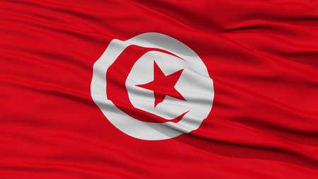 Closeup Tunisia Flag, Waving in the Wind, High Resolution
