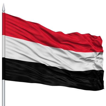 Yemen Flag on Flagpole , Flying in the Wind, Isolated on White Background