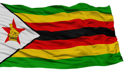 Isolated Zimbabwe Flag, Waving on White Background, High Resolution