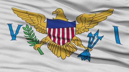 Closeup United States Virgin Islands Flag, Waving in the Wind, High Resolution