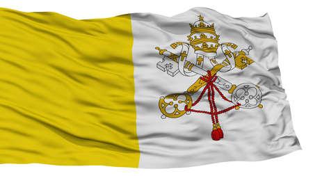 Isolated Vatican Flag, Waving on White Background, High Resolution Stock Photo