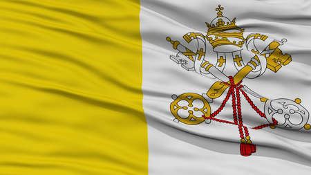 Closeup Vatican Flag, Waving in the Wind, High Resolution Stock Photo
