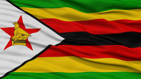 Closeup Zimbabwe Flag, Waving in the Wind, High Resolution