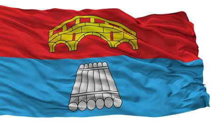 Mosty City Flag, Country Belarus, Isolated On White Background Reklamní fotografie