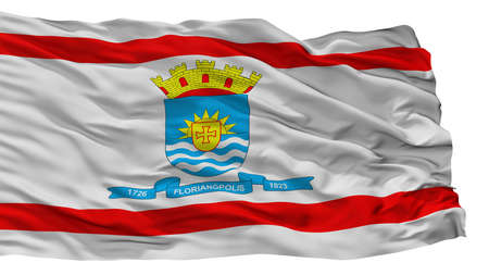 Florianopolis City Flag, Country Brasil, Isolated On White Background Stock Photo