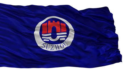 Suzhou City Flag, Country China, Isolated On White Background 스톡 콘텐츠
