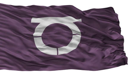 Takeo City Flag, Country Japan, Saga Prefecture, Isolated On White Background 版權商用圖片