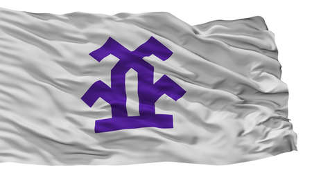 Takayama City Flag, Country Japan, Gifu Prefecture, Isolated On White Background