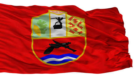 Demir Hisar Municipality City Flag, Country Macedonia, Isolated On White Background